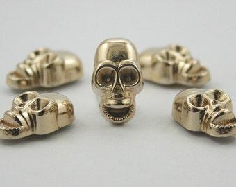 5 pcs. Gold Zinc Skull Head Rivets Studs Decorations Findings. SK RG1119 K