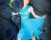Sea Nymph Iridescent Aqua Silk Chiffon Cocktail Dress Custom Couture Wedding Gown Made to Order Any Color Fabrics Bridal Options