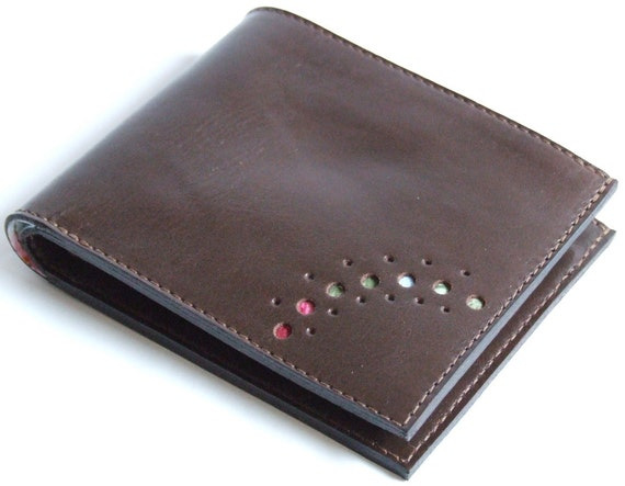 Brown leather wallet with roses lining, cards, coins ID window and billfold