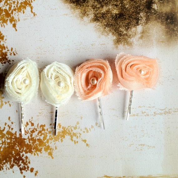 Small chiffon ivory or blush peachl flower bobby pins-- Casual or a touch of elegance to any hairstyle. Ready to ship.