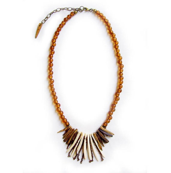 SALE - Tribal Spike Statement Necklace, Chocolate Oatmeal Coco Tusks  - Tribal Inspired Handmade Necklace in brown and off white