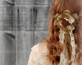Burlap Rose Rustic Wedding Veil, Hair Clip