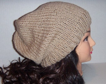 Slouchy Beanie Knitted Hat  in Tan Taupe Linen Color for Man or Woman