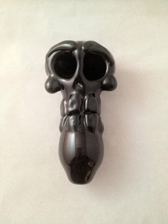 Black Skull Hand Blown Glass Pipe