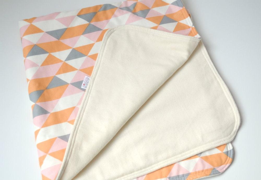Baby Blanket Modern Geometric In Soft Gray Orange Pink And