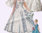 50s Wedding Dress Pattern Simplicity 1461 Full Skirt Princess Styled Bridal Gown Bridesmaids dress Veil & Head Dress Size 14 Bust 34 inches