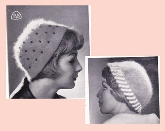 Vintage 1940s Hats Knitting & Crochet Patterns Book Patons 547 ORIGINAL patterns not PDF