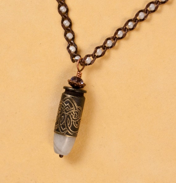 Celtic Pearl bullet necklace, Etched bullet jewelry