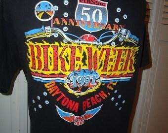 vintage tshirt DAYTONA BEACH Bike Week 1991 Florida 50th Anniversary morotcycle harley davidson