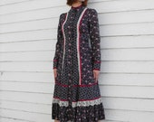 Vintage 70s Gunne Sax Dress Floral Print Blue Prairie Country Boho XS 7