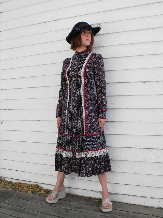 Vintage 70s Gunne Sax Dress Floral Print Blue Prairie Country Boho XS XXS