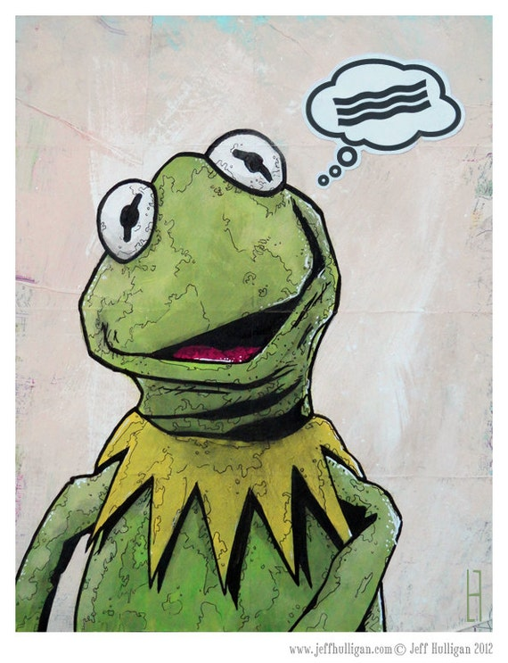 """Kermit The Frog - 8x10 Art Print - """"Bacon"""" - The Muppet Show - Limited Edition Print"""