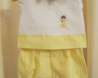 Vintage Handmade 60s 50s Yellow Baby Top and Bloomer Set with Teddy Bear Applique