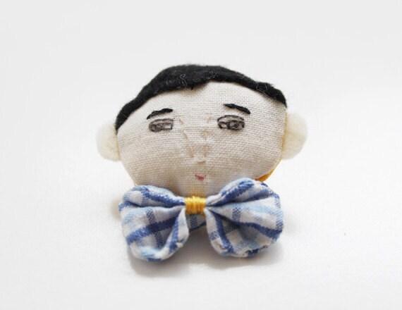 blue plaid bow-tie boy textile brooch