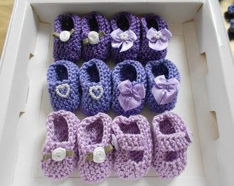 BEST SELLER Girl baby shower decorations: 4 pairs hand knit mini booties - 2 inches - shades of lavender/ lilac/ purple - decoration size