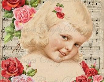 DARLA - Vintage Children Printable on Romantic Sheet Music Background  - 8.5x11 - VC113 -Instant Digital Download - Bonus Sheet My Treat