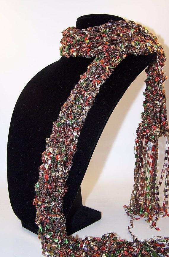 Knit Scarf, Brown Orange Scarf, Women Teen Girls, Ladder Ribbon Scarf by WeeCatCreations, Accessories