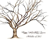 "xx Small (Happy 75th Birthday Jeanne) Thumbprint Tree Giclee' Print 11""x14"" up to 80 guests.   or your choice of size"