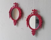 Two Small Oval Mirrors in Raspberry Pink, Girls Room or Nursery Wall Decor