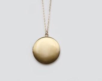 Vintage Brass Locket Necklace - 30 inch
