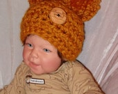 Adorable.... BUTTERSCOTCH.... Pom Hat..... Baby Boy or Girl.... 3 sizes...Newborn, 0 to 3 month & 3 to 6 month....READY to SHIP in 4 days