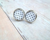 R E T R O - Black and White Polka Dot, Photo Glass Cab, Silver Plated Stud Earrings, 12mm