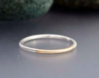 Married 14k Gold and Sterling Silver Ring - Thin 1.3mm Two Tone Round Wedding Band