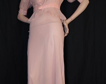 CLEARANCE SALE Vintage 1930s Pink Silk Chiffon Dress and Jacket - xs s