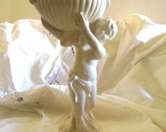 Vintage Creamy White CHERUB  Statue/Trinket Statue