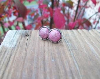 Pink Rhodonite Gemstone Post Earrings, stud earrings, antiqued silver