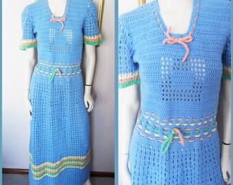 Vtg.60s Crochet Open Knit Blue Rainbow Striped Maxi Supermodel Length Dress.S/M.Bust 36-38.Waist 30.