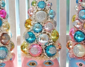 PINK Witch HalloWeeN Bottle Brush Tree glass ornaments garland Shabby Chic bottlebrush spooky creepy Bewitching