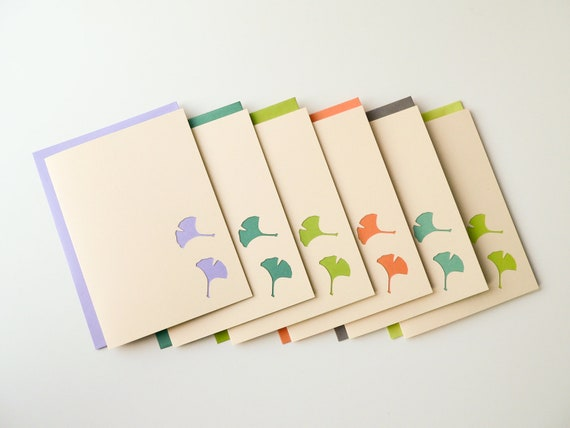 Ginkgo Delight Brights - Handmade Blank Note Card Set - ivory, teal, green, lavender, coral, nature - newnanc, Nouveau Nancy