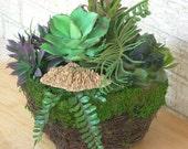 Rustic Planter of Artificial Succulents, Faux Succulent Table Garden, Woodlands Planter