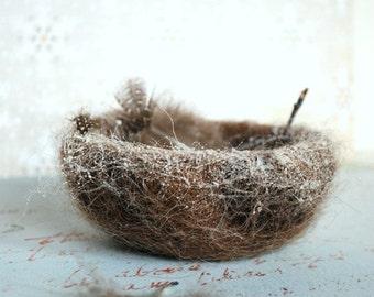 Empty Nest - Wool Felt Birds Nest and Snow, Crochet, Needle Felted, Roving wool, Handmade, OOAK, Feathers, Nature, Outdoors, Bird, Seasonal