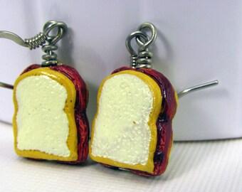 PB&J Earrings in Silver - Peanut Butter and Jelly Earrings, Sandwich Earrings, Food Earrings, Humor, Lunch, Cute, Funny