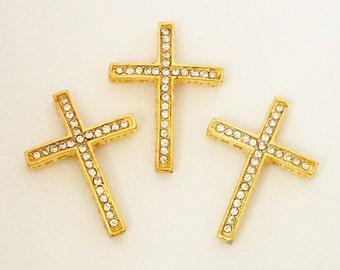 Cross Bracelet Connector, Gold Sideway Cross Bracelet Link, Clear Rhinestone Cross Focal Necklace, (1) Pcs, Easter Diy Craft Jewelry Making
