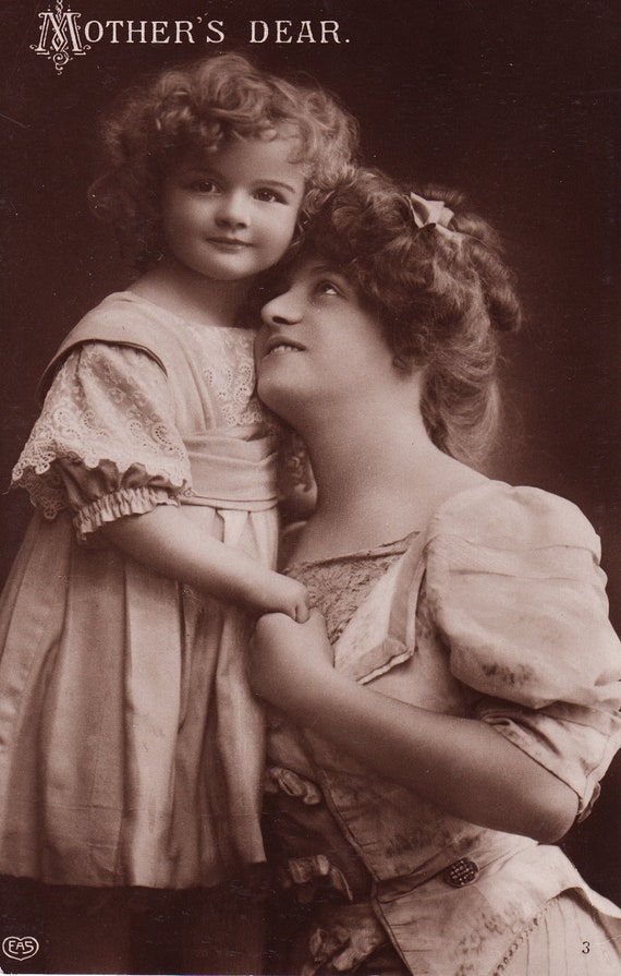 RESERVED for stacymanselle...1910s...Pretty Little Edwardian Girl with Mother...original vintage postcard...paper ephemera