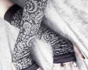 Evening Caller Arm Warmers - Dark Charcoal Silver Grey Damask Mehndi Paisley Burnout - Yoga Gothic Belly Dance Tribal Vampire Cycling Gypsy