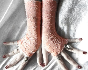 Sunset Wheat Lace Fingerless Gloves - Embroidered Sheer Peach Coral Salmon - Gothic Vampire Lolita Fetish Burlesque Goth Bridal Bridesmaid