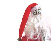 Santa Claus Decoration, Doll, Primitive Doll, Primitive Santa, Santa Clause, Red, Scarlet, Christmas, Holiday, Red White