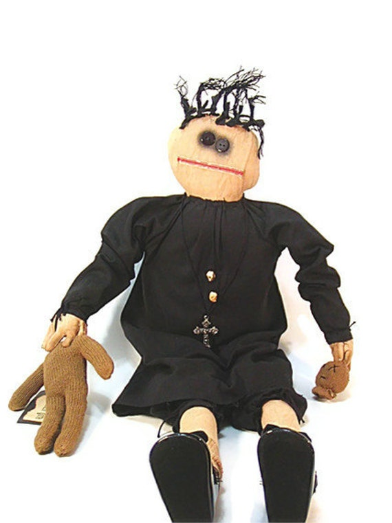 Gothic Doll, Black, Primitive Doll, Goth Doll, Primitive, Primitive Goth, Cross, Mary Jane Shoes, Headless Doll, thecattsuglybabies