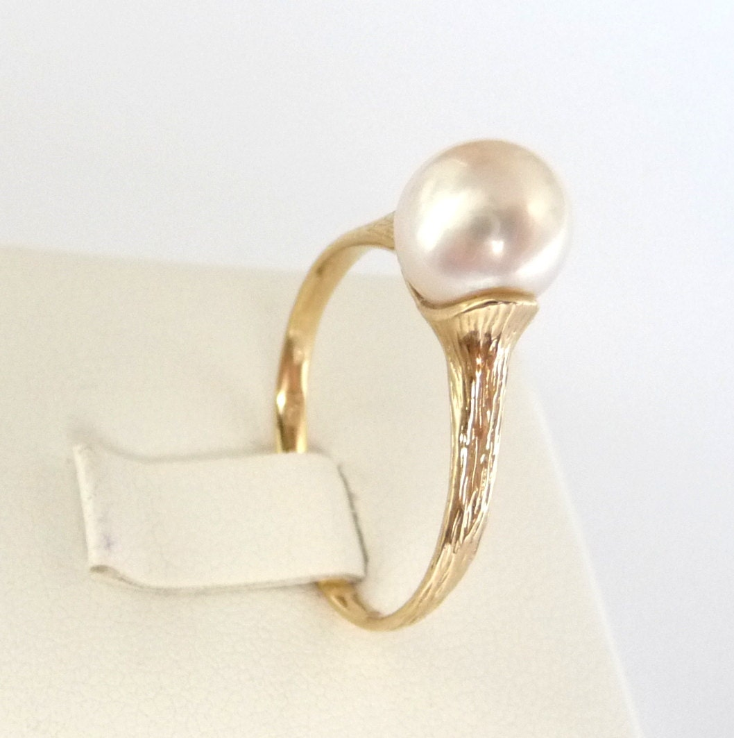 Pearl Wedding Ring: Pearl Engagement Ring Gold Pearl Ring Classic Promise Ring