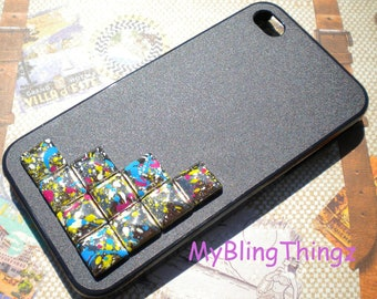 Silver Multi Color Splatter Pyramid Studs on Natural Black Case Cover for Apple iPhone 4 4G 4S AT&T Verizon Sprint