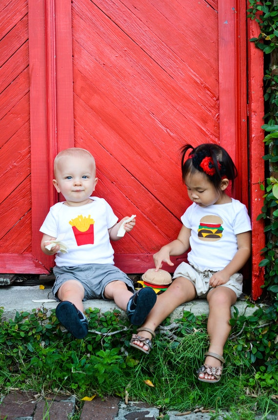 Twin Baby Clothes Cheeseburger and French Fries Onesie