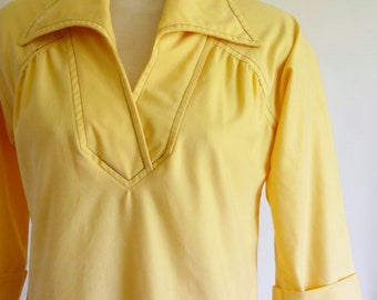 70s dress - yellow tunic dress - 1970s dress - cotton dress - vintage Stanley Sklar day dress