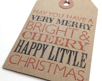 Christmas Gift Tags - Hand Stamped Kraft Tags - Classic Black Red Very Merry Christmas