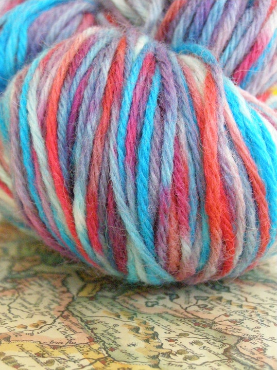 Sunset with Clouds - Hand Painted Worsted Wool 150 yards