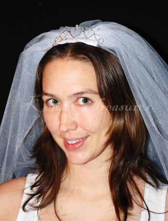 Wondrous Tiara Wedding Or Bachelorette Party Veil Hairstyle Inspiration Daily Dogsangcom