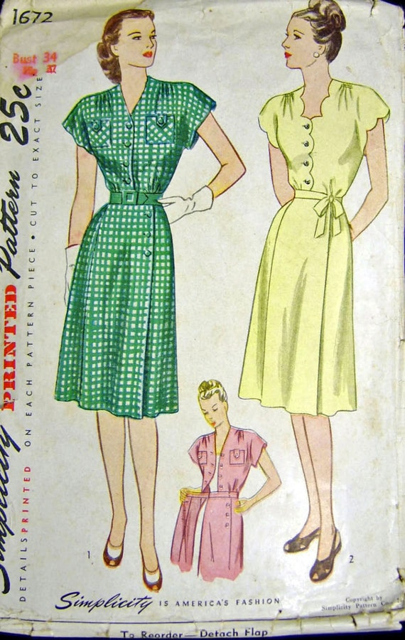 Simplicity 1672 Vintage 1940s Wrap Around Dress Sewing Pattern